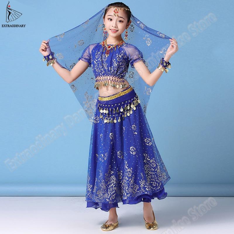Nuevos niños danza del vientre India niños danza Bollywood traje conjunto Sari traje Halloween gasa Top cinturón falda velo para tocado