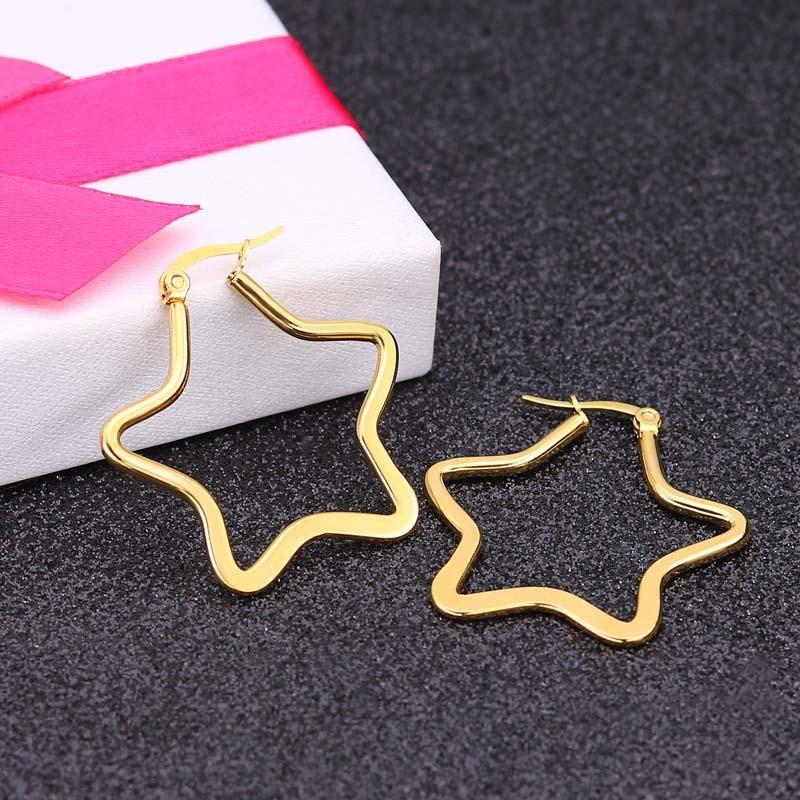Moda oco em forma de estrela brincos de argola de aço inoxidável para mulheres punk hip hop estilo orelha jóias presentes de aniversário 1 par