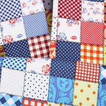 LEO & LIN tissu artisanal de Style Rural   En coton, treillis à coutures multicolores imprimées, 50cm