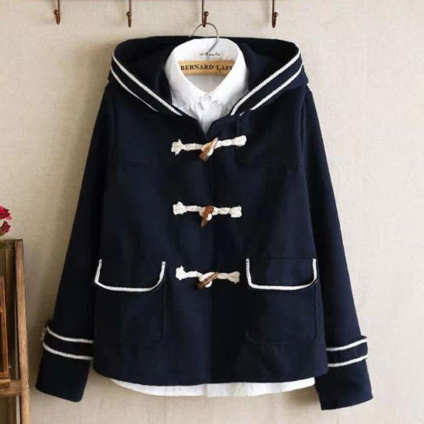 Estilo japonés estilo preppy cuerno botón abrigo de lana mujeres ajustado azul marino con capucha cálido invierno mezclas chaqueta uniformes escolares