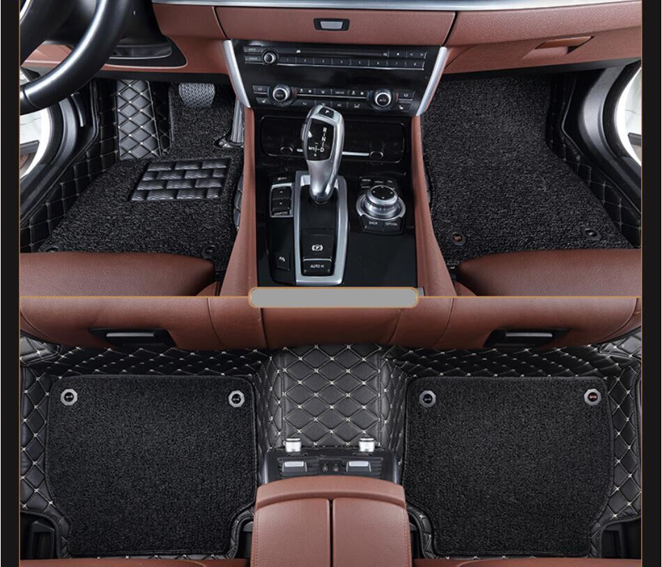 Alfombrillas de automóvil para Land Rover Discovery 3 LR3 2005-2009 alfombras de pie estera de paso de alta calidad bordada bobina de alambre de cuero de 2 capas