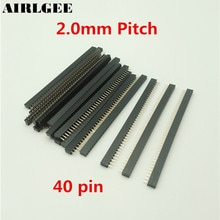 Tête de PCB femelle noire   20 pièces, 40 broches, connecteur à 2mm, livraison gratuite