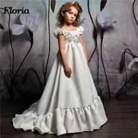 2018 elegant ball gown long beaded flower girl kids evening pageant dresses first communion dresses for girls vestidos deminha