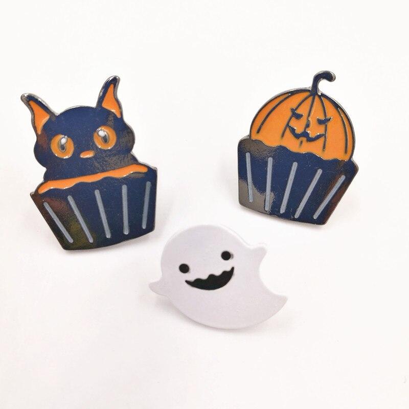 Timlee X147 dibujos animados lindo fantasma de Halloween calabaza taza pastel Kitty gato broches metálicos regalo al por mayor