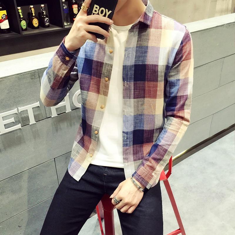 Camisa de manga larga de talla grande 5XL para hombre, camisa a cuadros a la moda 2020, blusa informal delgada ajustada para hombre