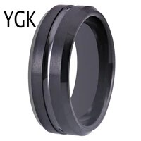 ygk wedding jewelry new tungsten rings for mens bridegroom wedding engagement anniversary ring matte black bevel with groove