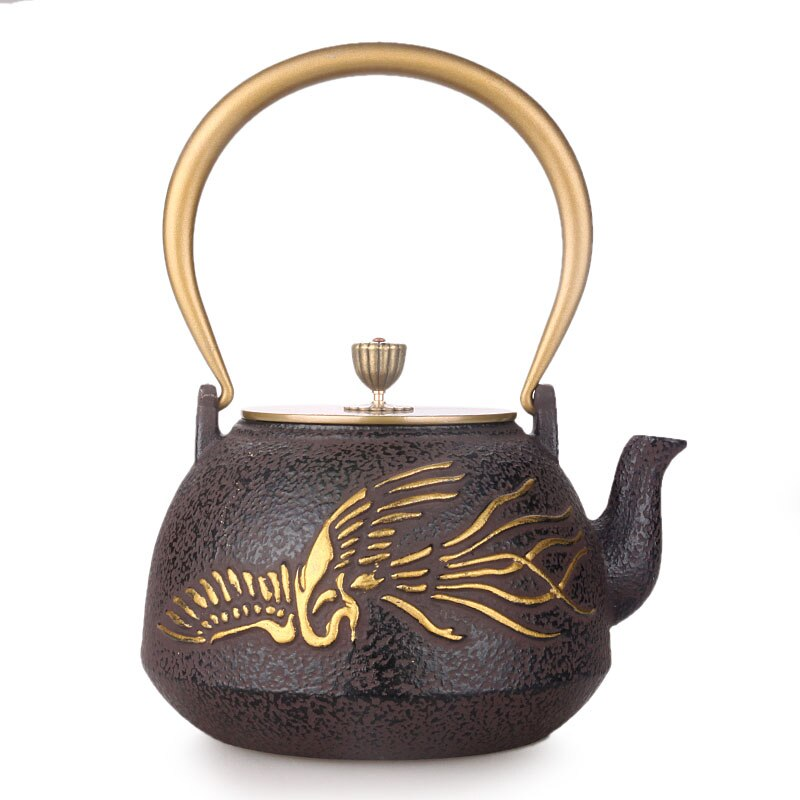 Tetera de hierro japonés Kongfu, tetera de hierro viejo, tetera de cobre de oro pintado Phoenix, tetera de agua, tetera de 1,3 L