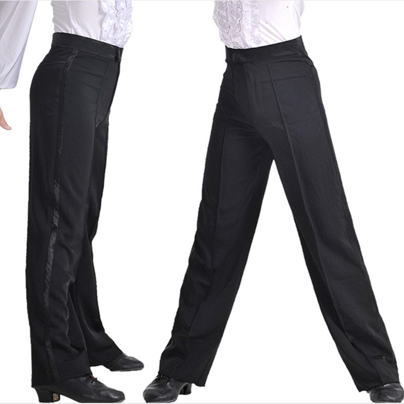 Брюки для бальных танцев для мальчиков, современные брюки для латинских танцев, сальса, Танго, Румба, Самба, ча-ча, профессиональные черные брюки для танцев для мужчин