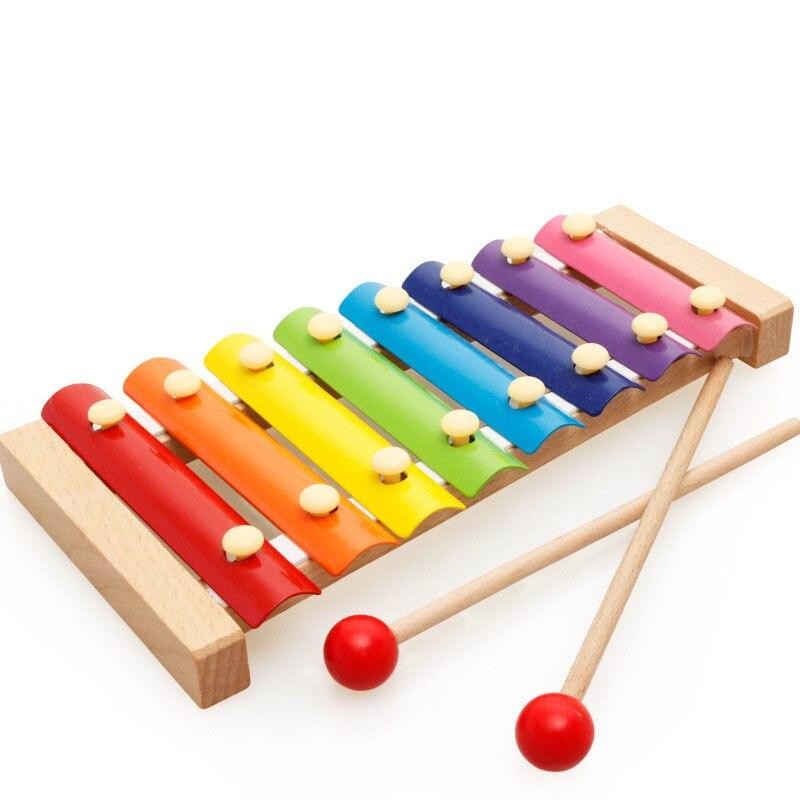 Instrumento Musical de xilófono con 8 notas de madera para bebés juguetes de piano educativos musicales coloridos juguetes para niños bebés 0-12 meses
