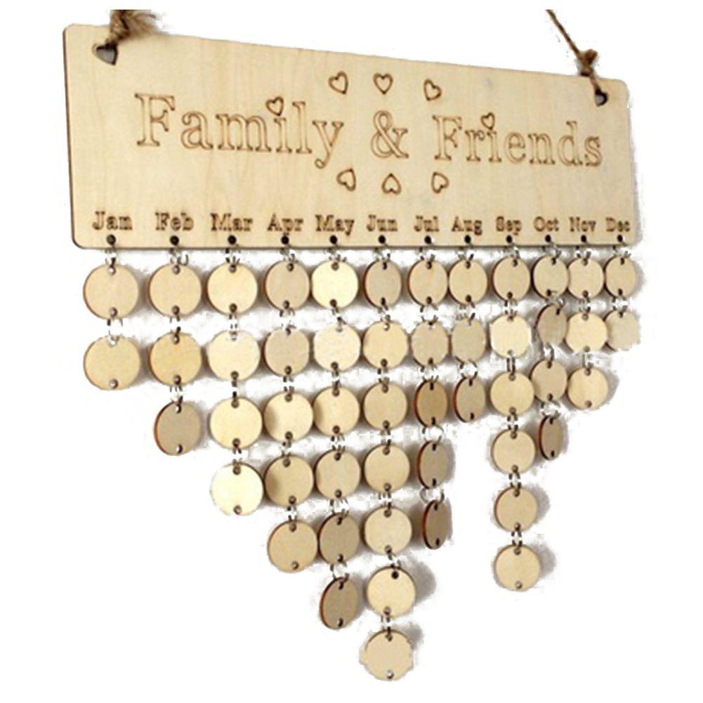 Tablero de recordatorio de cumpleaños DIY de madera para familiares y amigos, calendario de Evento de madera para manualidades perpetuas, calendario colgante