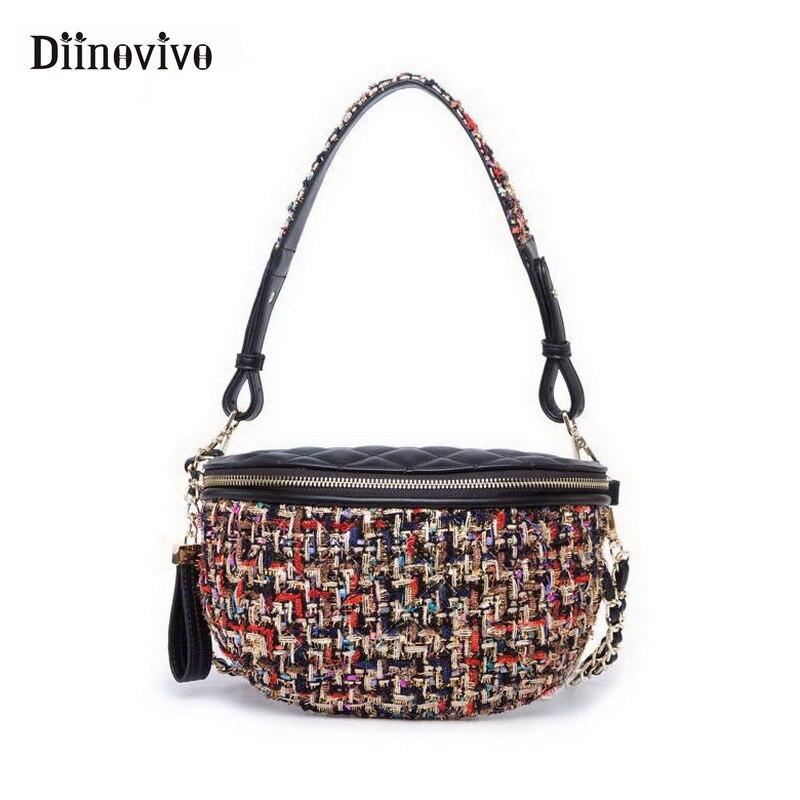 DIINOVIVO Новая Женская поясная сумка модная дизайнерская волоконная вязаная сумка на плечо сумка-кошелек из искусственной кожи сумка на пояс для денег сумка на цепочке WHDV0610