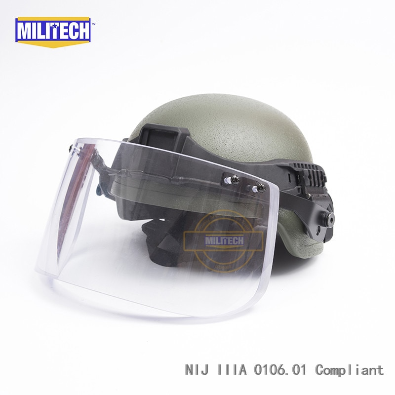 MILITECH OD MICH ACH Mich フルカット NIJ IIIA 3A Twaron 弾道防弾防弾ヘルメット戦術バイザー Railband セット