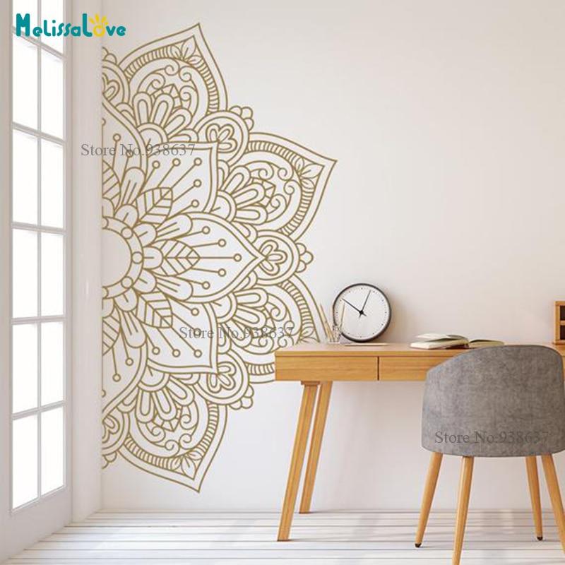 Mandala em meio novo design tamanho grande ornamento marroquino yoga tema decalque estúdio decoração da parede arte decoração para casa b927