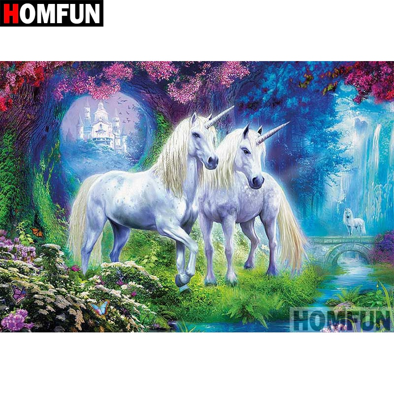 "HOMFUN 5D DIY diamante pintura cuadrado completo/taladro redondo ""dibujos animados Unicornio"" bordado 3D punto de cruz regalo hogar decoración A03912"