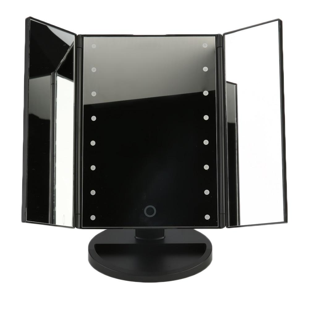Lámpara LED plegable portátil de tres mesas espejo de maquillaje luminoso espejo cosmético encimera ajustable 16 luces LED sensor táctil