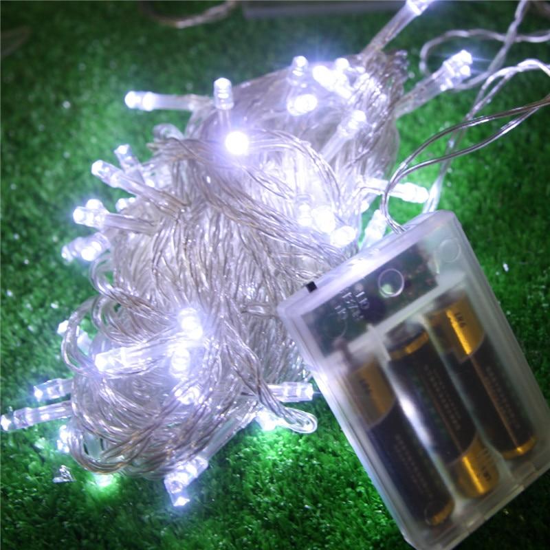 Lámparas LED intermitente a prueba de agua para exteriores candelabros para fiesta de cumpleaños diseño de escena batería cadena de luces de 10 metros, 80 luces