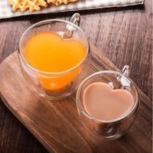 Trinken Glas Tee Tassen Doppel Wand Schicht Tee Tasse Wärme-wider Kreative Herz-förmigen Doppel Glas Saft Becher milch Kaffee Tasse