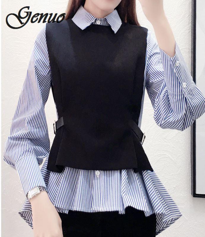 Женская рубашка в стиле пэчворк, женские топы, офисная блузка с ложным воротником, дамские облегающие повседневные Осенние теплые рубашки в...