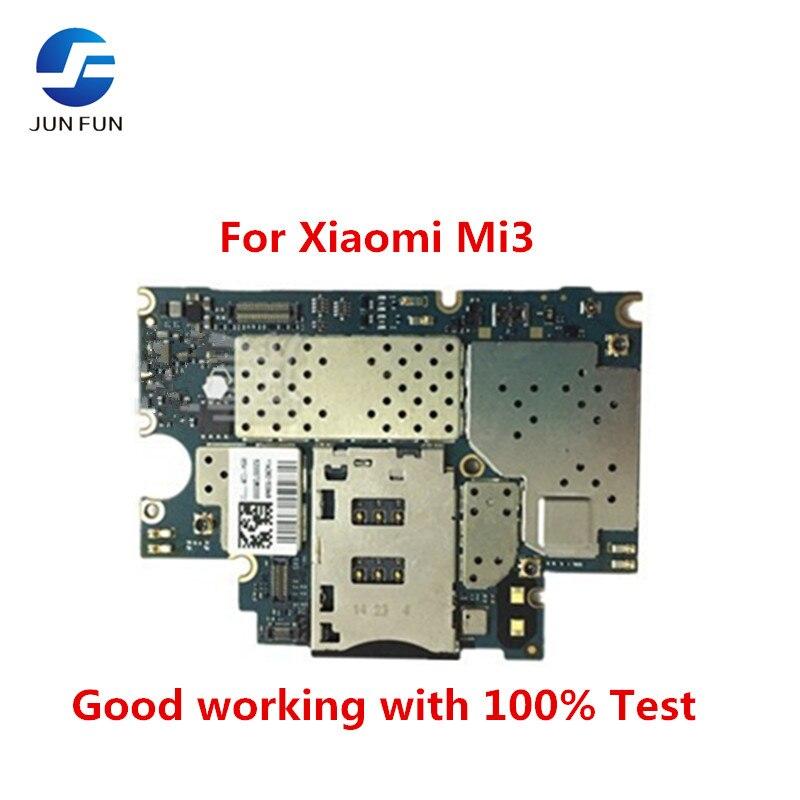 Placa base de Tablero Principal desbloqueada Jun Fun con Chips circuitos Cable flexible para Xiaomi mi 3 M3 mi 3