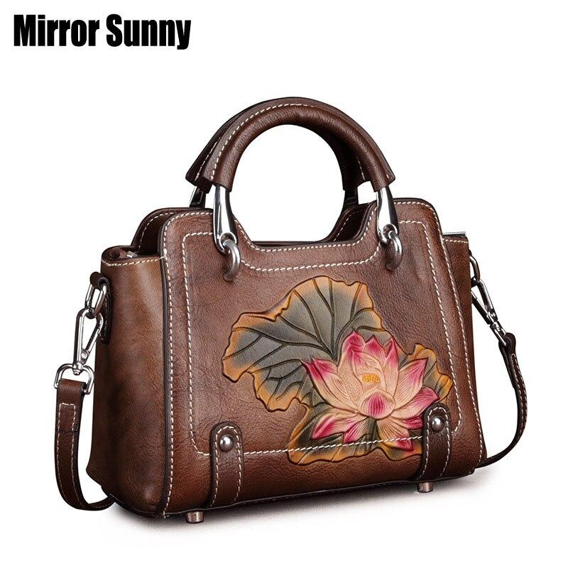 Women's Bag Retro Postman Bag Genuine Leather Handbag Casual Single Shoulder Crossbody Bag Lady's Simple Head Layer Cowhide Bags