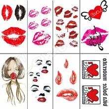 Sexy rouge noir baiser lèvres corps Art beauté maquillage imperméable temporaire tatouage autocollants
