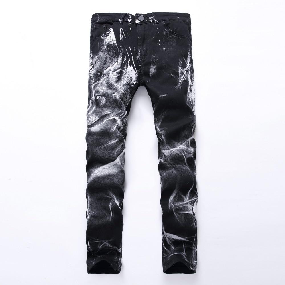 Pantalones vaqueros blancos y negros con estampado de cabeza de perro lobo para Otoño e Invierno para hombre, pantalones de estilista ajustados pequeños rectos con personalidad