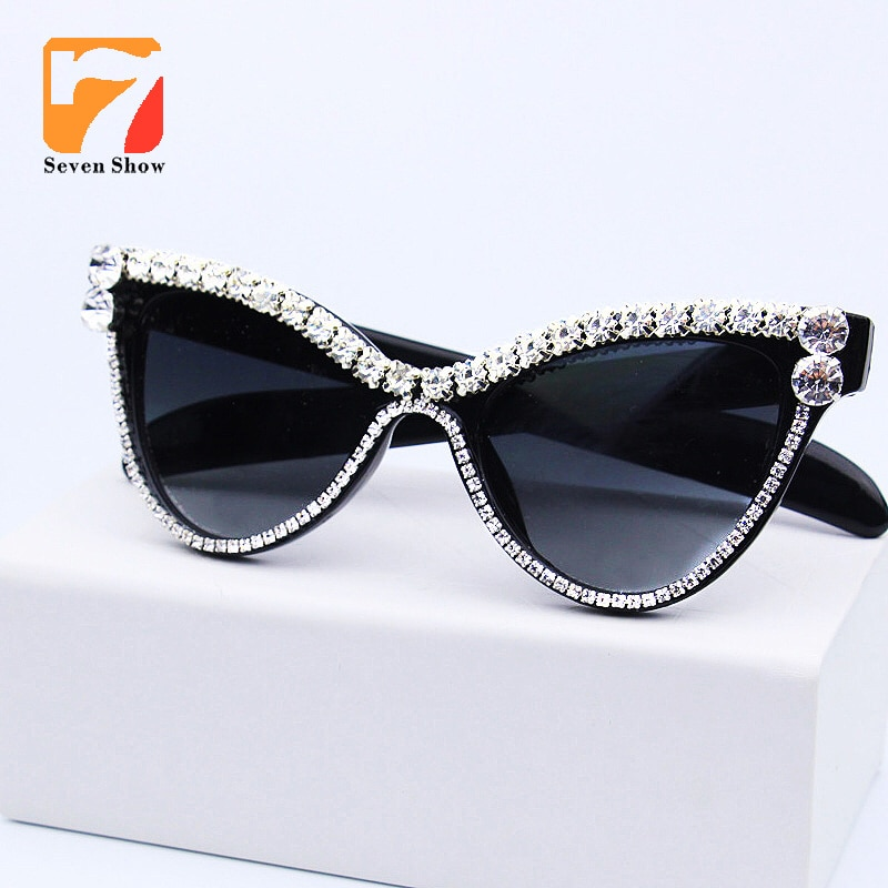 Милые сексуальные женские солнцезащитные очки кошачий глаз, винтажные брендовые дизайнерские Кристальные очки с алмазной рамой, градиентные солнцезащитные очки для женщин UV400