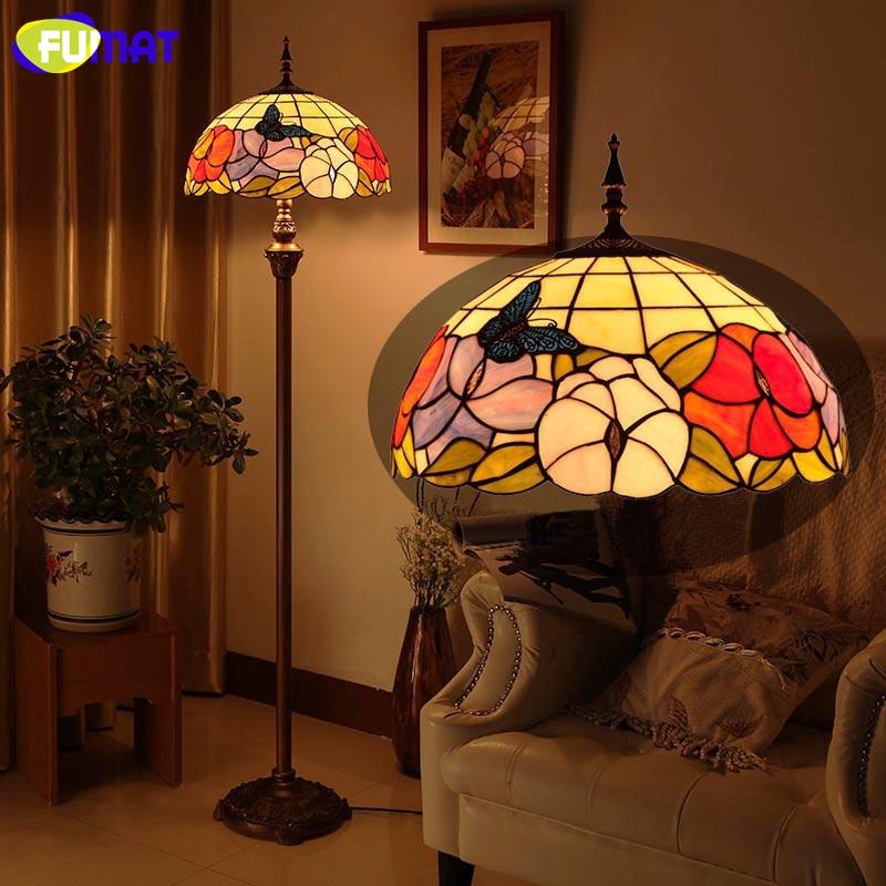 فومات-مصباح LED زجاجي على الطراز الرعوي مع فراشات وزهور ، مصباح أرضي لغرفة المعيشة بجانب السرير ، ديكور منزلي