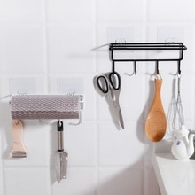 Kitchenware Rack Organizer Adhesive Drill Free Towel Brush Hanger Storage Shelf SDF-SHIP