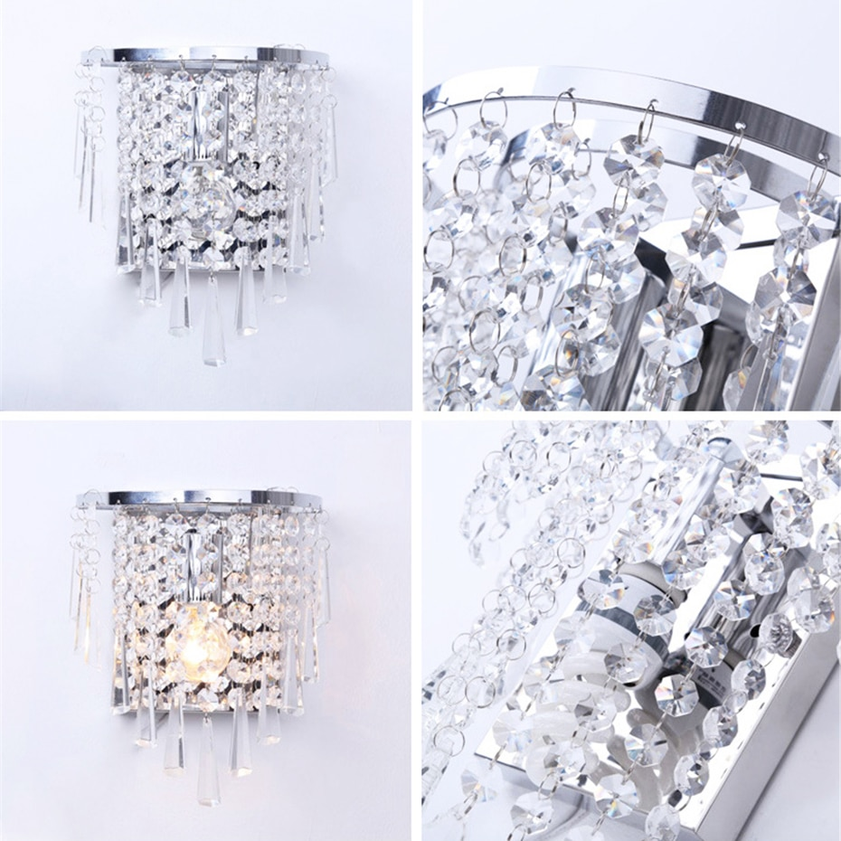 Modern Art High Grade Crystal E14 Wall Lamp European Luxury Style Sliver/Gold Wall Light For Home Bedroom Living Room Decoration  - buy with discount