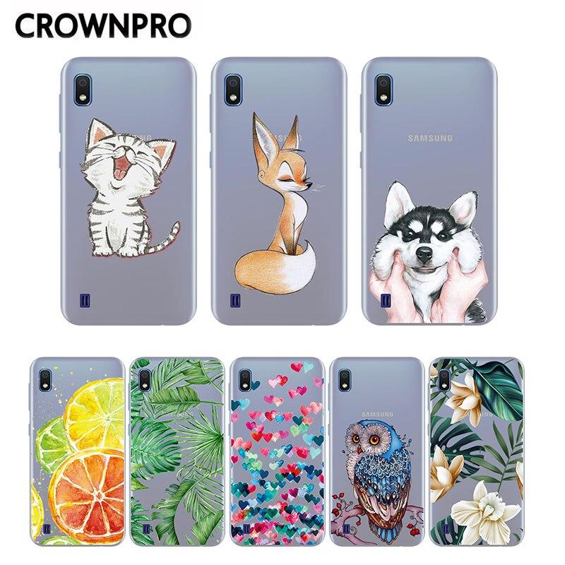 CROWNPRO Cartoon Case For Samsung A10 Cover Silicone Soft sFor Samsung Galaxy A10 TPU Back Cover A 10 2019 A105F Cute Coque Thin