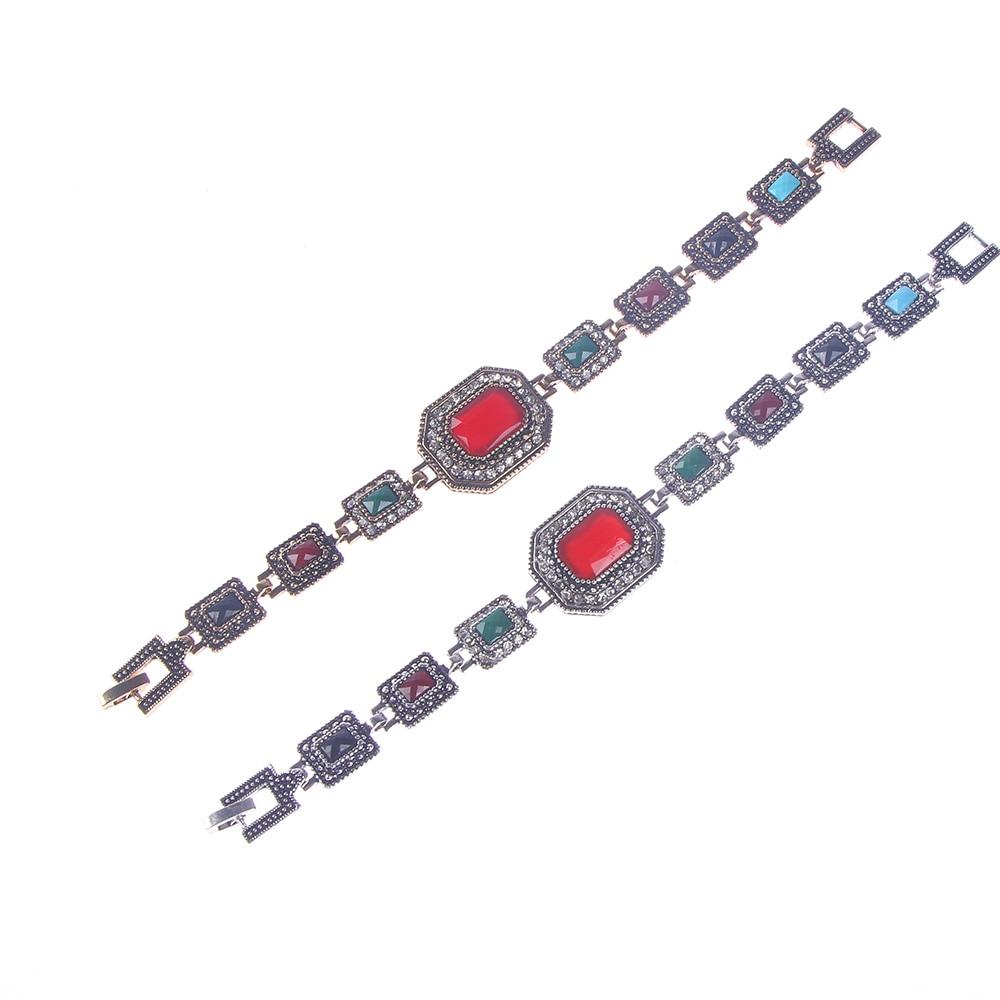 Women Fashion Retro Alloy Rhinestones Polygon Big Chain Bracelet Bangle Jewelry for Men Women Best Friend Hot