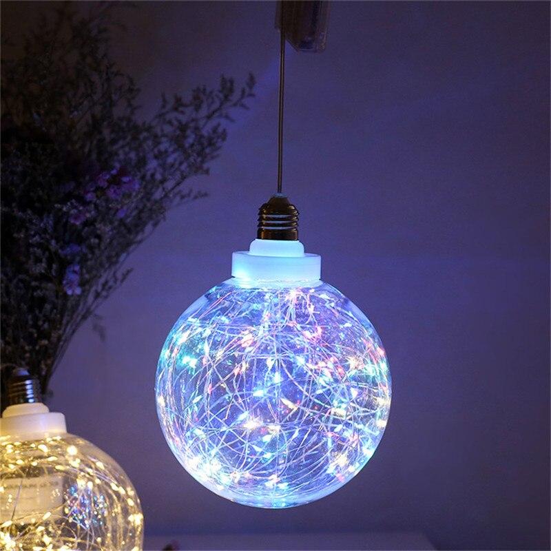 Lámpara LED globo alimentado por batería araña balón de plástico transparente tiras de luz con cable de cobre colgante noche decorativa regalo interior