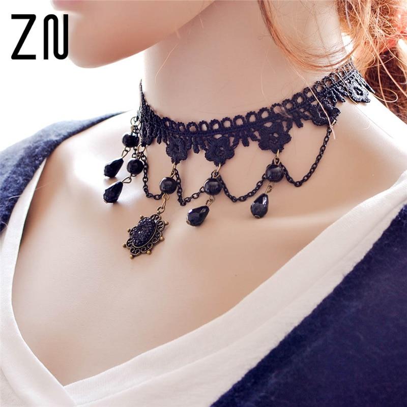 Zn colares gótico sexy gargantilhas de cristal preto rendas pescoço gargantilha colar vintage vitoriano feminino chocker steampunk jóias