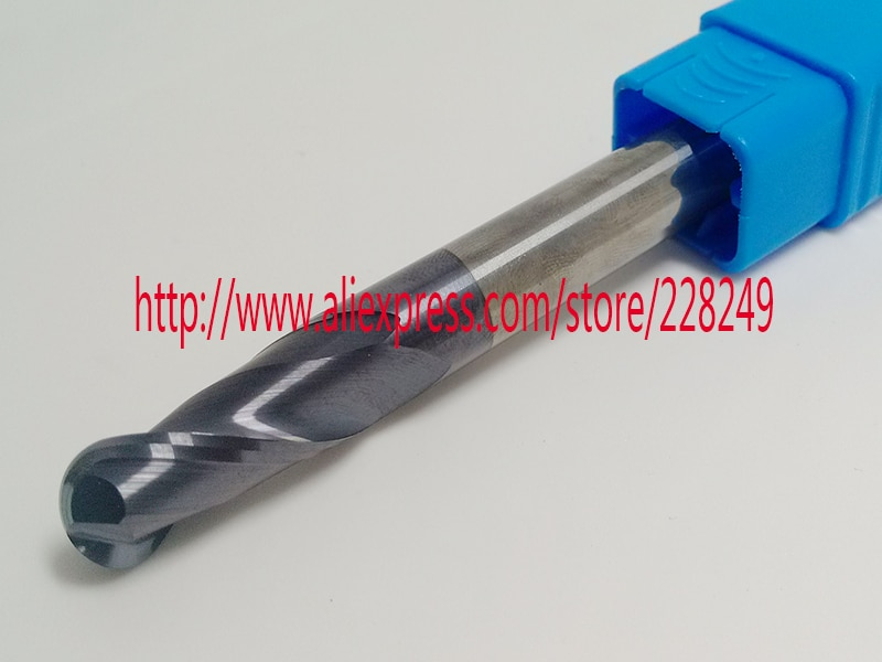 1 pc R5 * 20 * D10 * 100L-HRC45 2 Flautas de Tungstênio Revestido de metal duro Bola Nariz End Mills CNC fresas