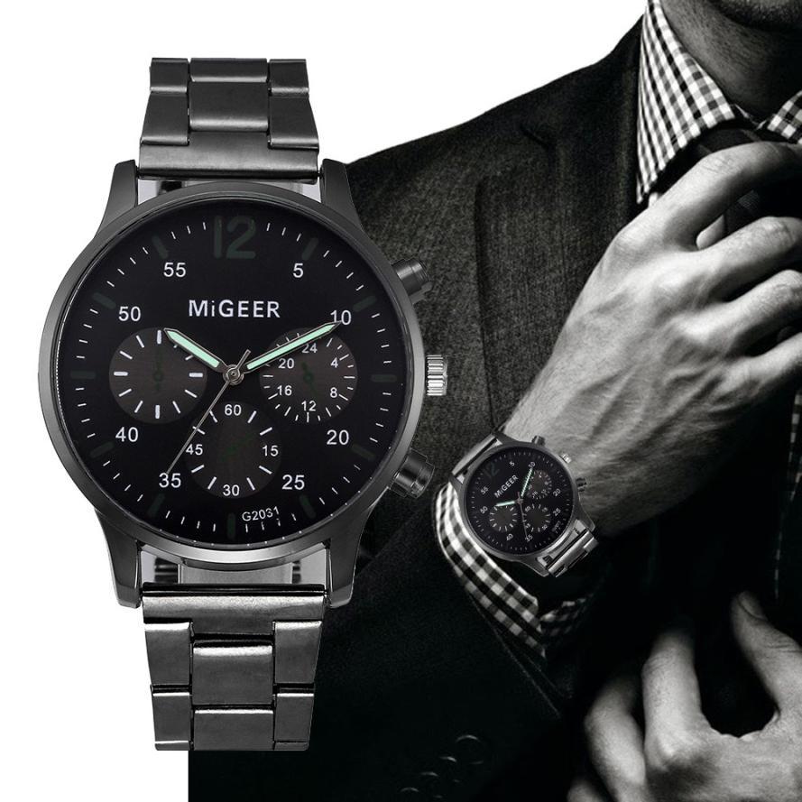 Top Brand Business Men Male Luxury Watch Casual steel Calendar Wristwatches quartz watches relogio m