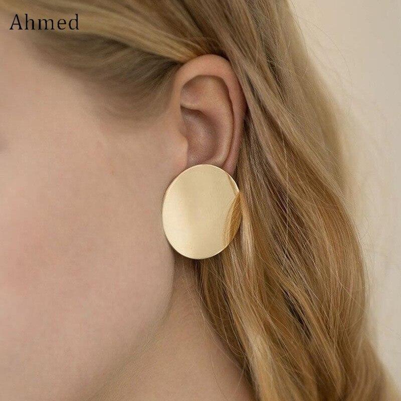 Pendientes de tachuela de aleación redonda de Color plata oro minimalista para mujer joyería de moda para niña pendientes de oreja para mujer Regalos