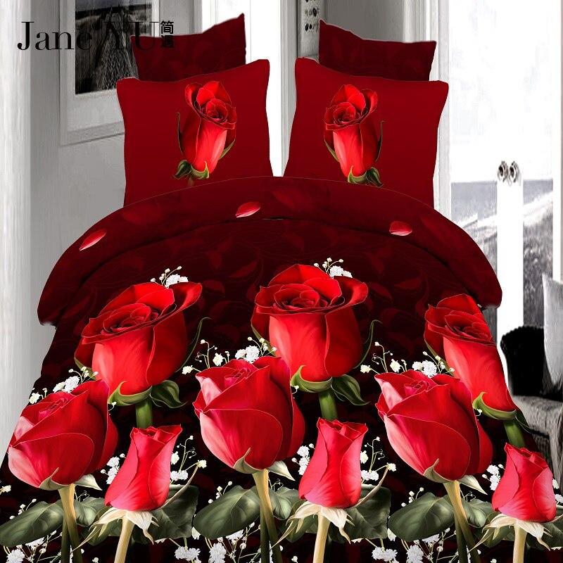 JaneYU 4 Uds rey de lujo de tamaño 3D Rosa juegos de ropa de cama de color rojo edredón sábanas cubierta de la hoja de cama funda de almohada para boda