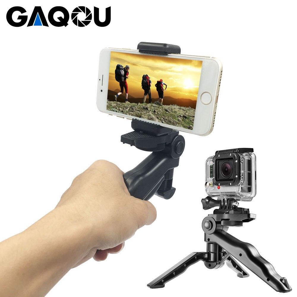 "GAQOU Mini trípode Universal 90 ""rotación escritorio y mango estabilizador para cámara de teléfono móvil Go Pro con Clip de soporte de teléfono móvil"
