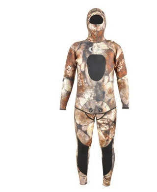 5MM Neoprene TwoPiece Professional DivingSuit Snorkeling Scuba Wetsuit Surfing Suit For Men With Hood Camo Spearfishing SwimSuit