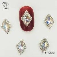 leamx 10pcs crown bow ab glass rhinestone alloy nail art decorations glitter charm 3d nail jewelry diy manicure supplies l469