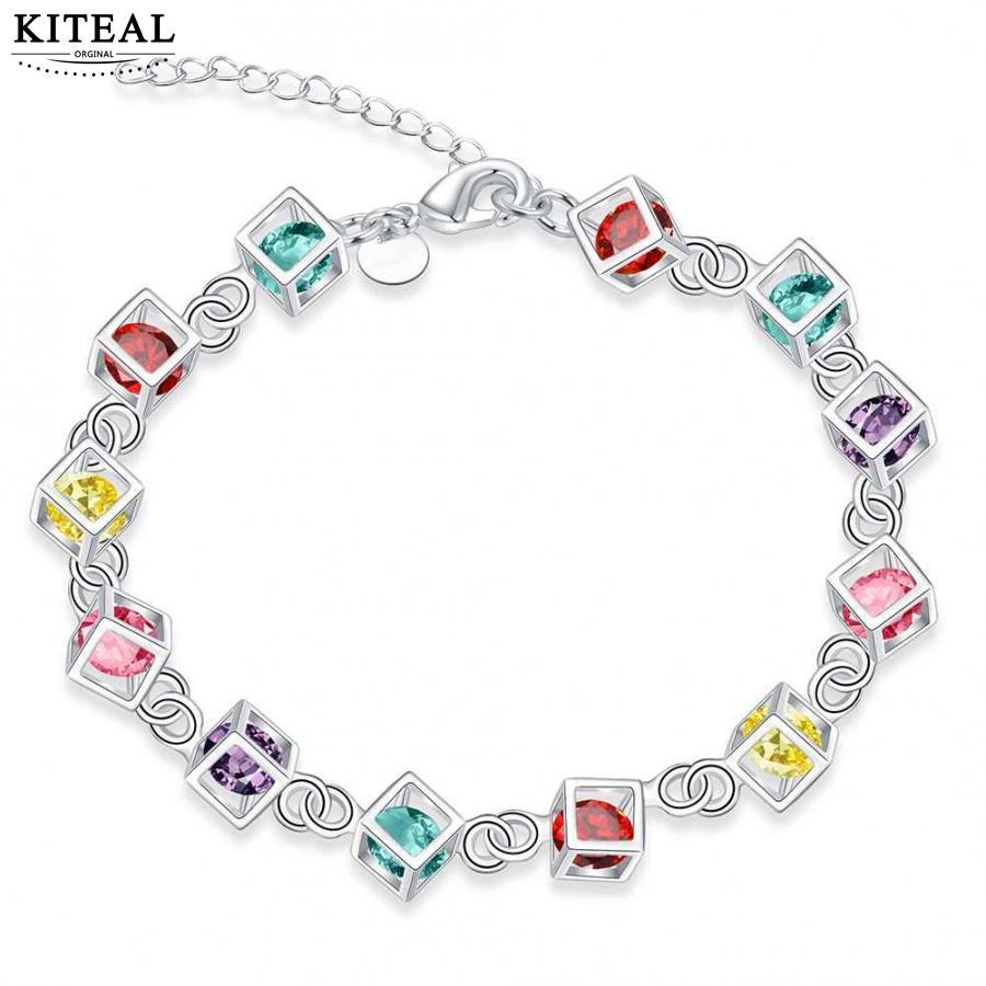 2017 Latest Women Classy Design silver bracelet cz stone colorful cubic zirconia hot Factory Direct Sale wholesale jewelry H220