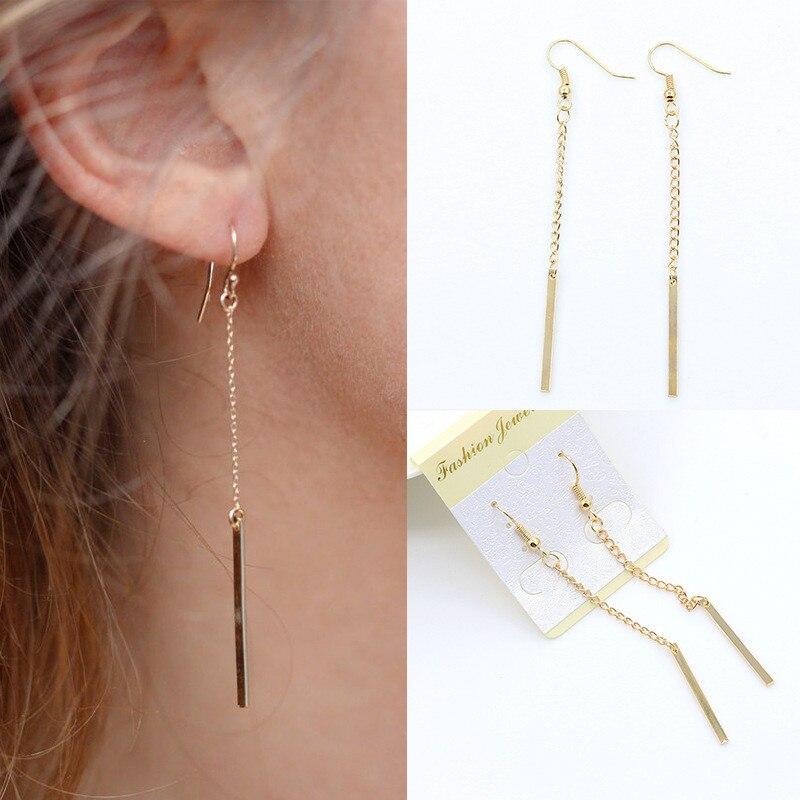 Novedad, pendiente colgante de cadena larga con borla de estilo sencillo para mujeres y niñas, joyería para las orejas, Gifs al por mayor