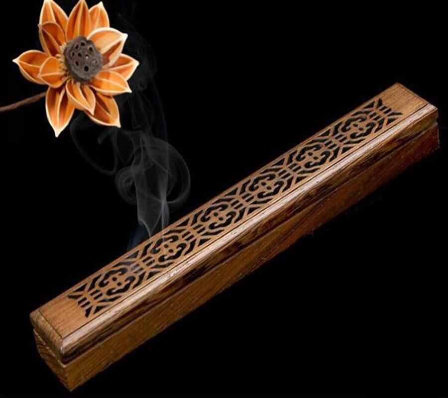 Quemador de incienso de madera Retro tallado a mano ahueca hacia fuera Joss Stick incienso titular caja de incienso