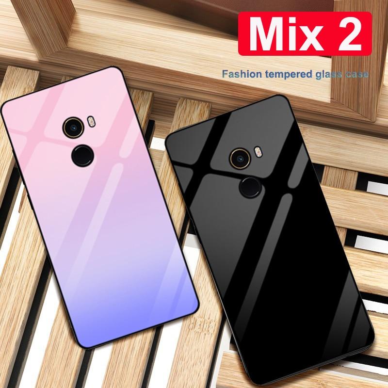 Funda de para xiaomi mi MIX 2 de vidrio templado de color sólido carcasa de teléfono para xiaomi mi MIX 2 mi x2 carcasa de vidrio degradado coque