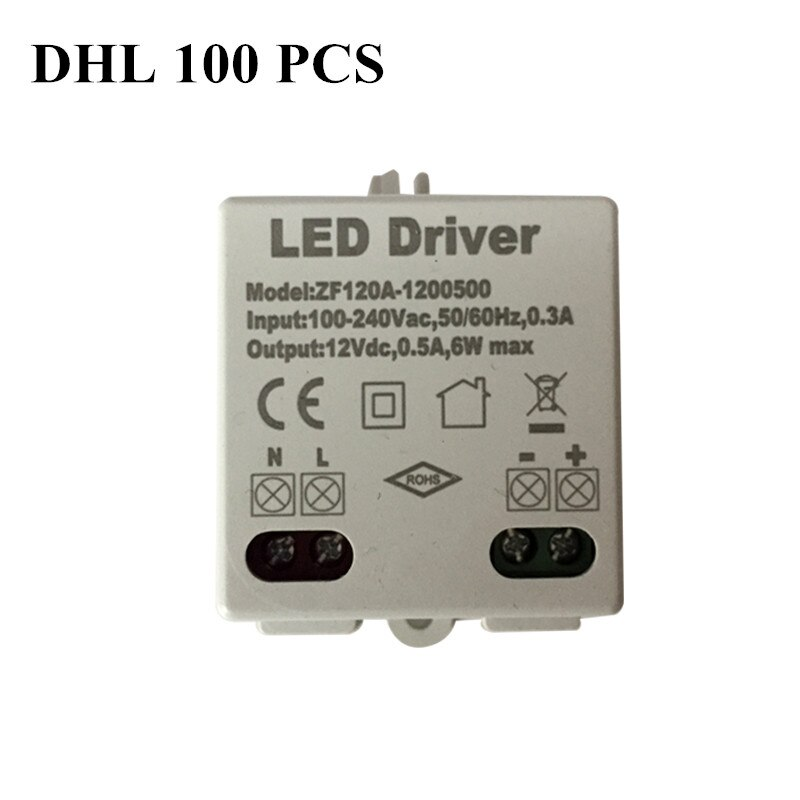 100pcs AC voltage 100-240V power 6W DC 12V Lighting Transformers high quality safe Driver for LED strip 3528 5050 power supply