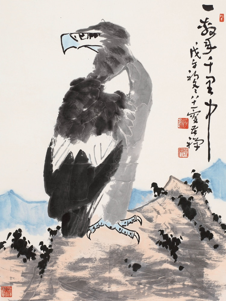 Pintura tradicional china paisaje pastoral imagen póster vintage de pintura animales águilas arte tradicional chino