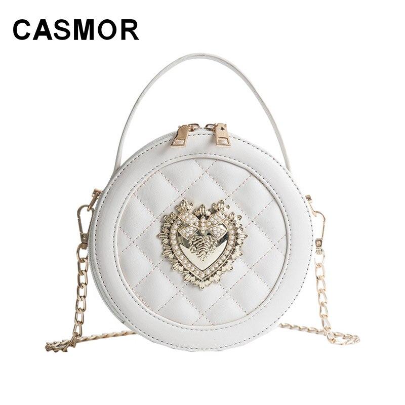 CASMOR famosa marca de Bolsos De Mujer 2019 diseñador perla Circular bolso de hombro tipo bandolera diamante rejilla de celosía bolso de mensaje femenino