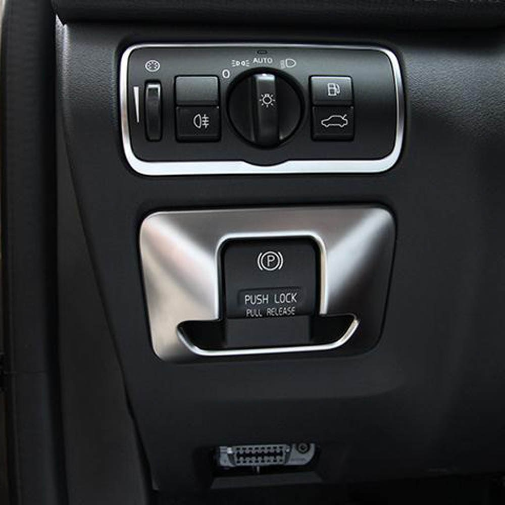 Accesorios interiores para volvo xc60 v60 s60, consola central, tablero, botón electrónico de freno de mano, pegatinas de tapicería decorativa