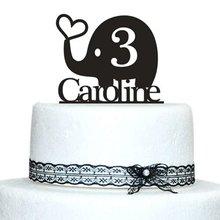Decoración de elefante de amor para bodas, Baby Shower, monograma inicial, decoración para Tartas, moda de cumpleaños, decoraciones bodas fiestas niños